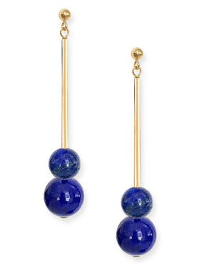 Umbra Double Earrings<br /><i><small>14K Yellow Gold with Lapis Lazuli</small></i><br />
