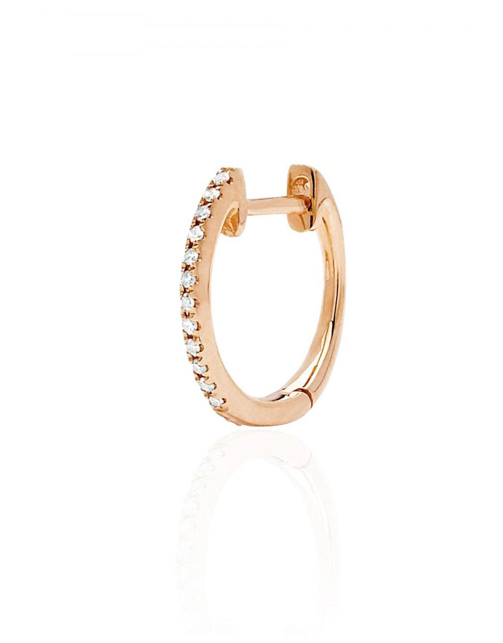 MINI DIAMOND HOOP PIERCING | 14K Rose Gold with White Diamonds - Eddera
