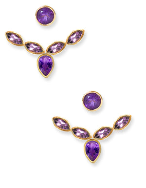 AUDREY EAR JACKET | 18K Gold Plated with Amethyst - Eddera