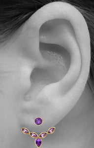 Audrey Ear Jacket<br /><i><small>18K Gold Plated with Amethyst</small></i><br />
