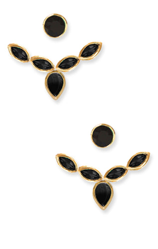 Audrey Ear Jackets<br /><i><small>18K Gold Plated with Black Onyx</small></i><br />