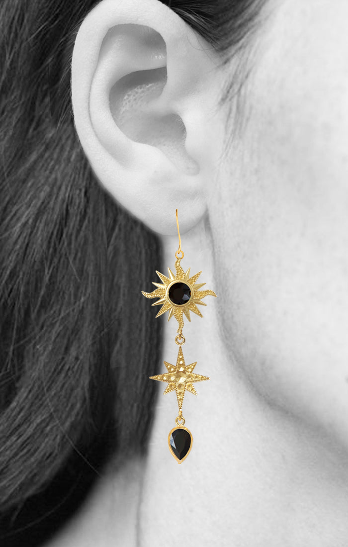 BELLATRIX EARRINGS | 18K Gold Plated with Black Onyx - Eddera