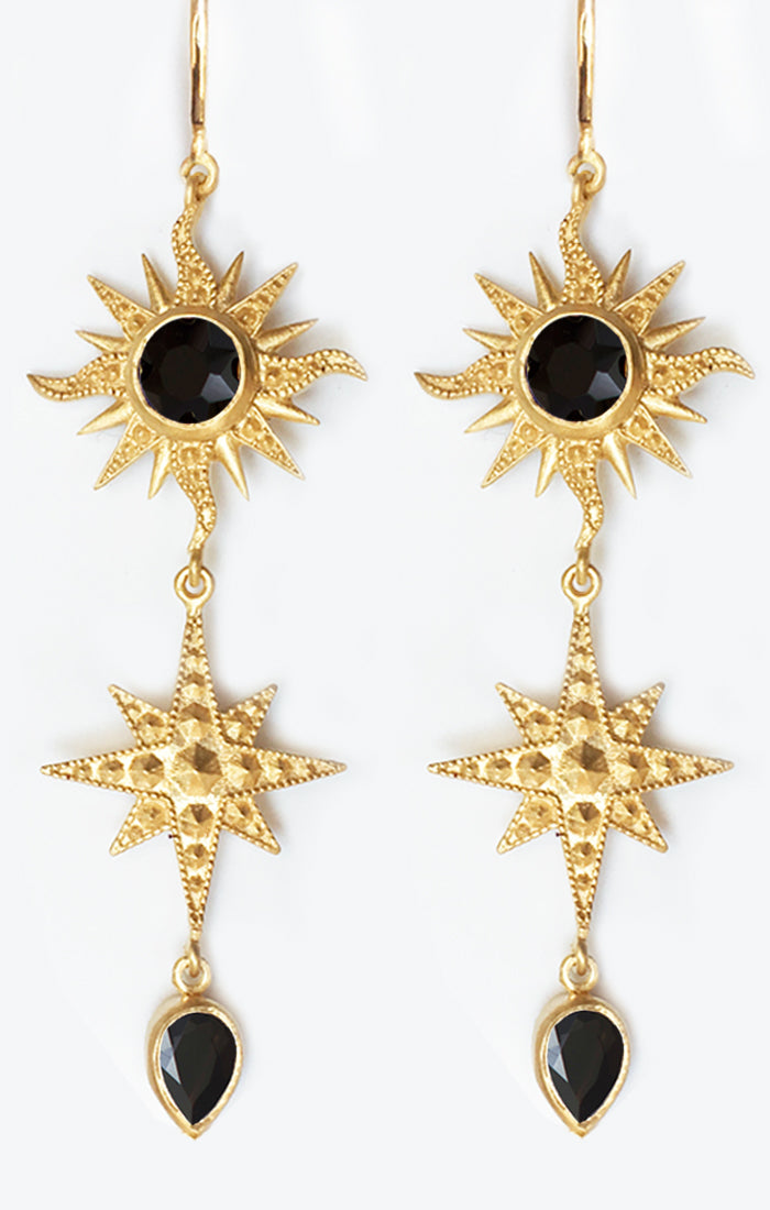 Bellatrix Earrings<br /><i><small>18K Gold Plated with Black Onyx</small></i><br />