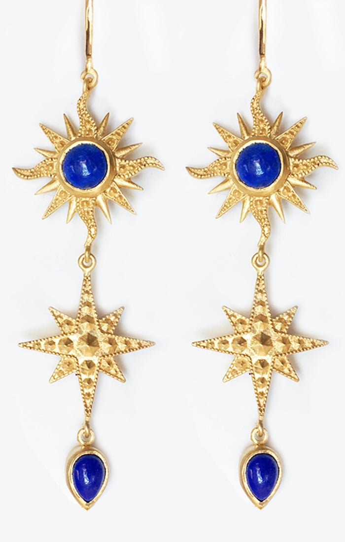 Bellatrix Earrings<br /><i><small>18K Gold Plated with Lapis Lazuli</small></i><br />
