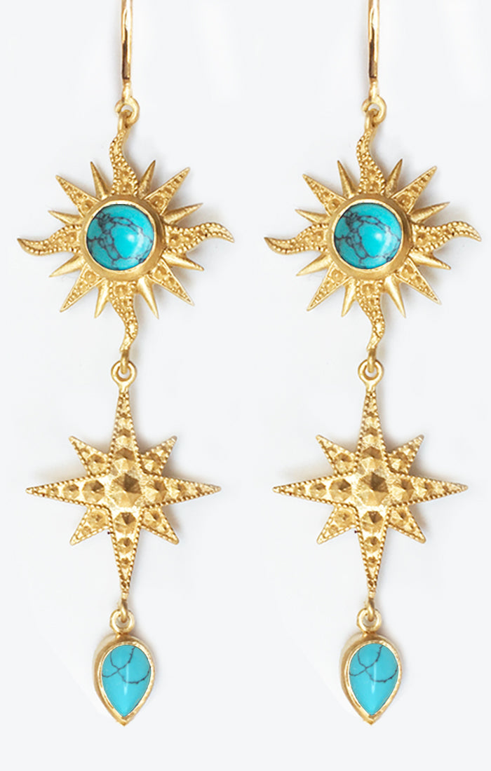 Bellatrix Earrings<br /><i><small>18K Gold Plated with Turquoise</small></i><br />