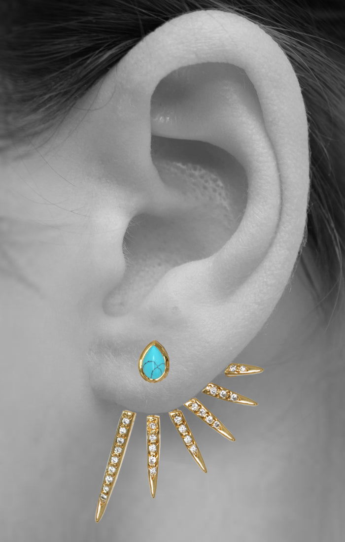 CATHERINE EAR JACKETS | Turquoise / Black Onyx