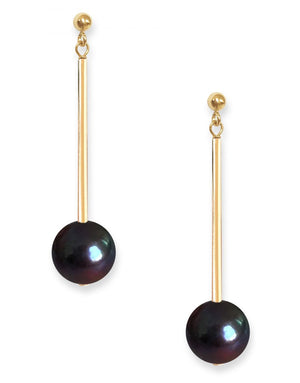 Umbra Earrings<br /><i><small>14K Yellow Gold with Black Pearls</small></i><br />