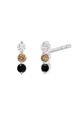 Diamond Fade Trio Stud<br /><i><small>14K White Gold w/ White Diamond, Champagne Diamond & Black Diamond</small></i><br />