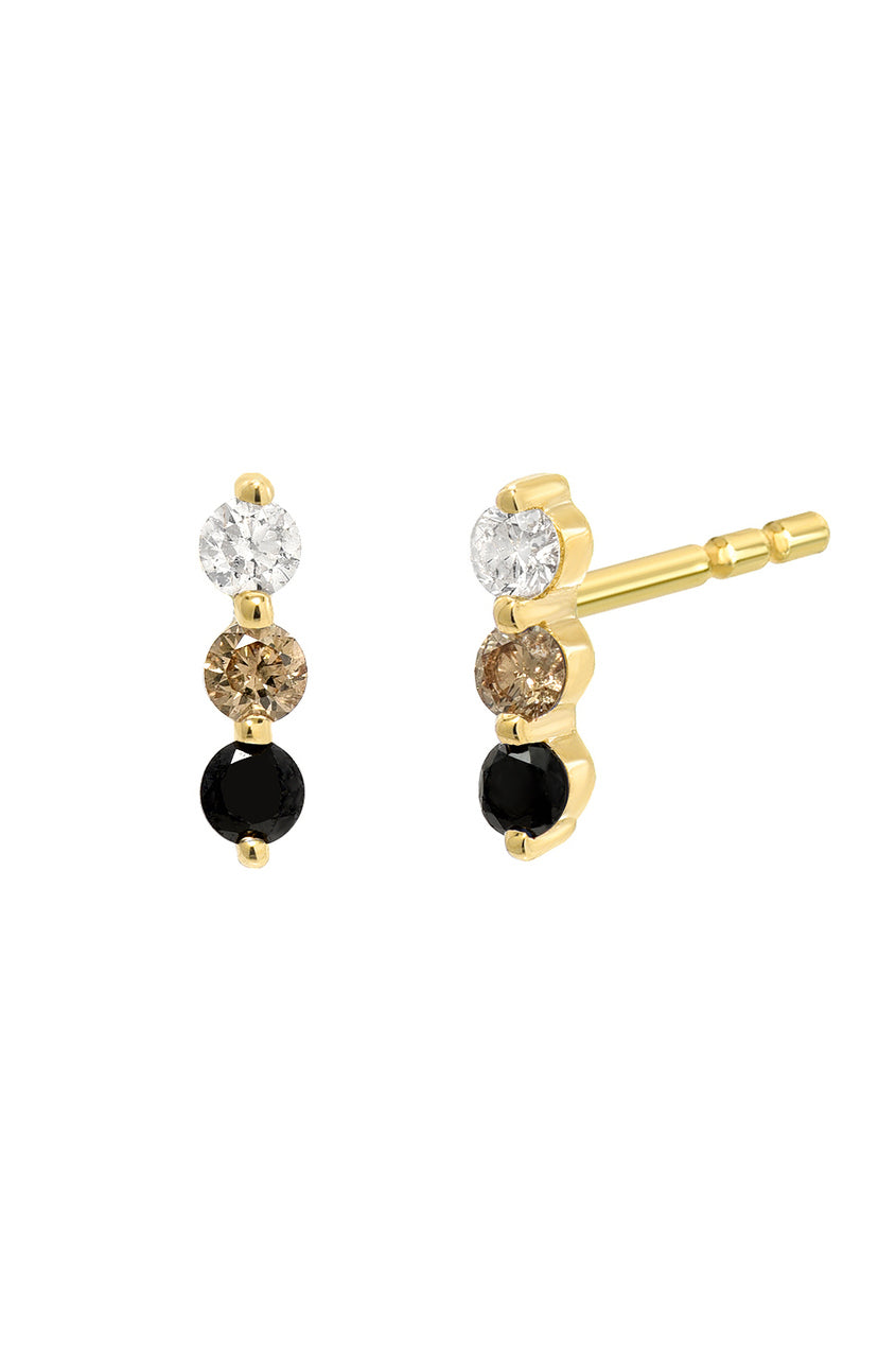 Diamond Fade Trio Stud<br /><i><small>14K Yellow Gold w/ White Diamond, Champagne Diamond & Black Diamond</small></i><br />