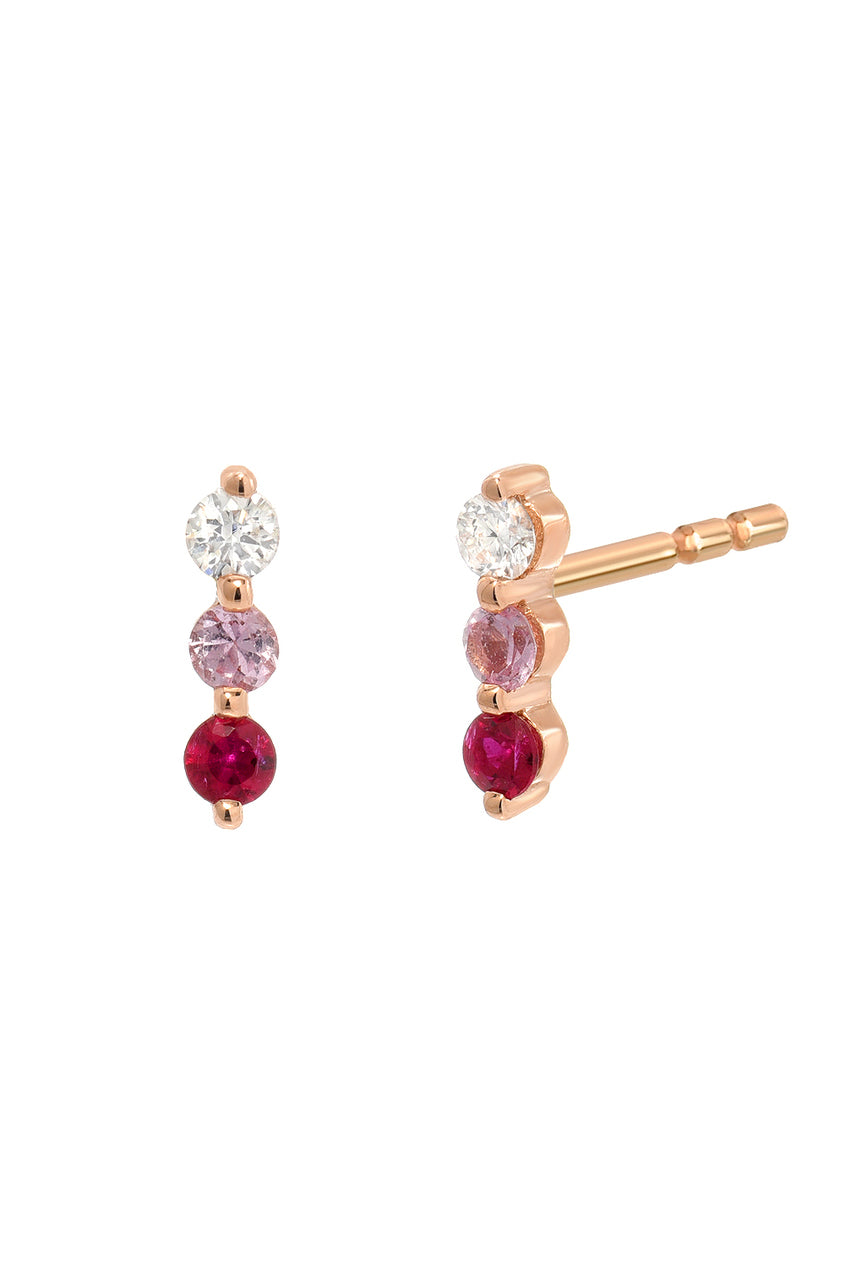 Diamond & Ruby Trio Stud<br /><i><small>14K Rose Gold w/ White Diamond, Pink Sapphire & Ruby</small></i><br />
