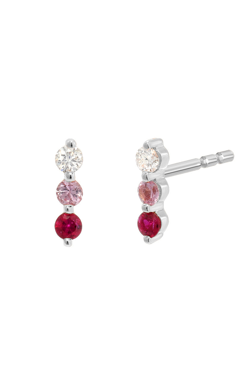 Diamond & Ruby Trio Stud<br /><i><small>14K White Gold w/ White Diamond, Pink Sapphire & Ruby</small></i><br />
