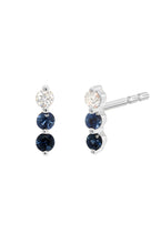 Load image into Gallery viewer, Diamond & Sapphire Trio Stud<br /><i><small>14K White Gold w/ White Diamond, Light Blue Sapphire & Dark Blue Sapphire</small></i><br />