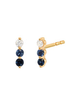 Load image into Gallery viewer, Diamond & Sapphire Trio Stud<br /><i><small>14K Yellow Gold w/ White Diamond, Light Blue Sapphire & Dark Blue Sapphire</small></i><br />