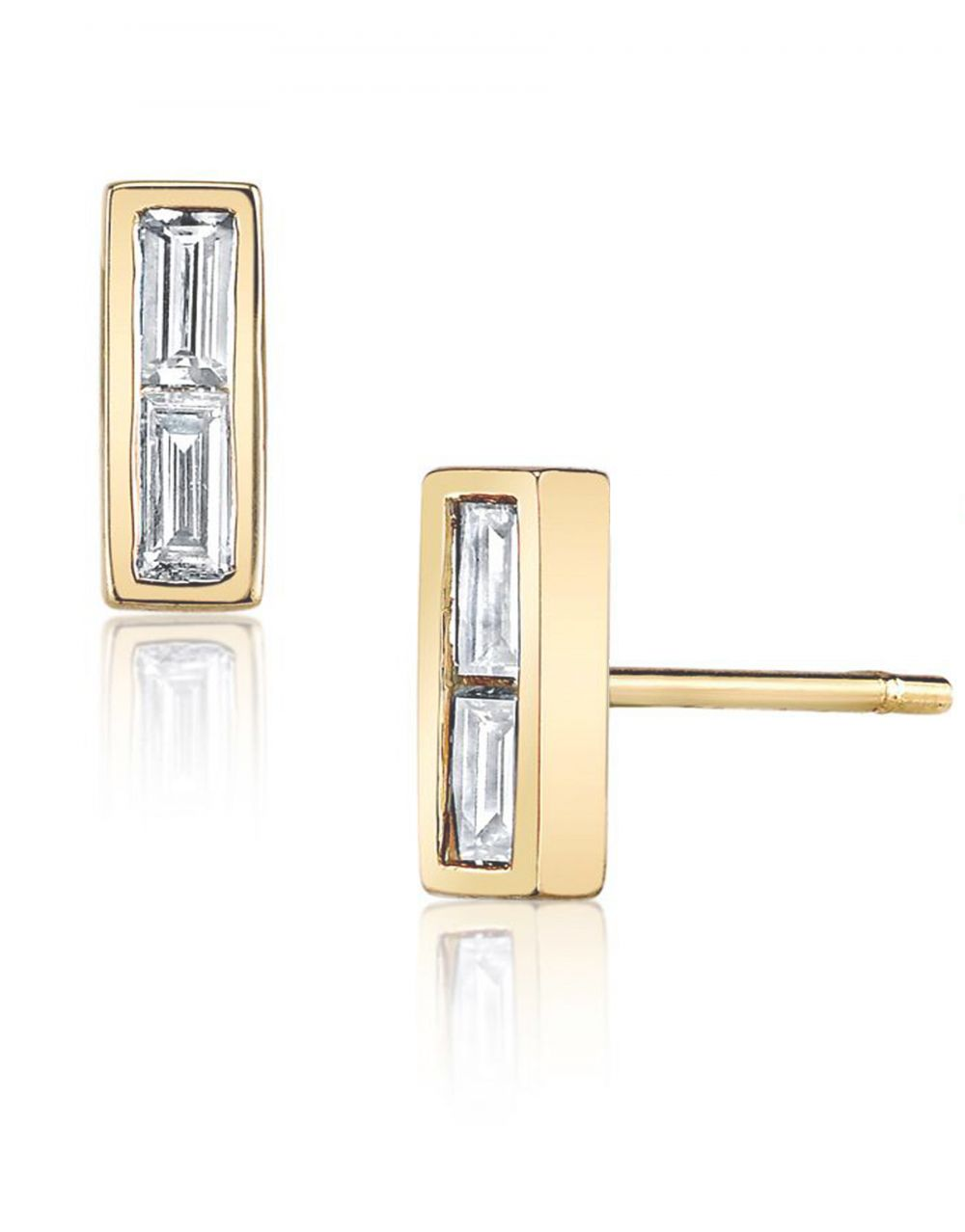 Double Diamond Baguette Stud<br /><i><small>14K Yellow Gold with White Diamonds</small></i><br />