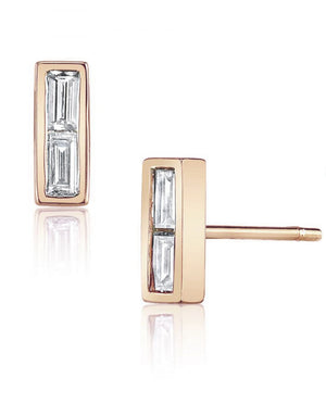 DOUBLE DIAMOND BAGUETTE STUD | 14K Rose Gold - Eddera