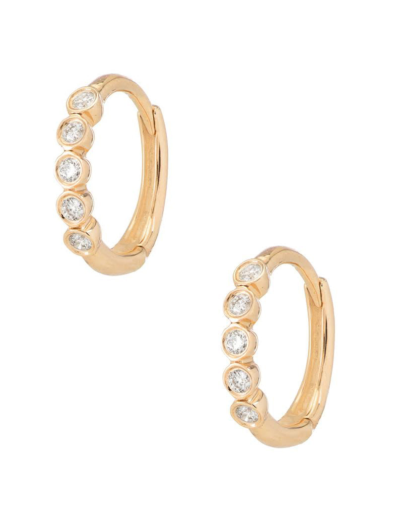 Mini Five Diamond Hoops<br /><i><small>14K Yellow Gold with White Diamonds</small></i><br />