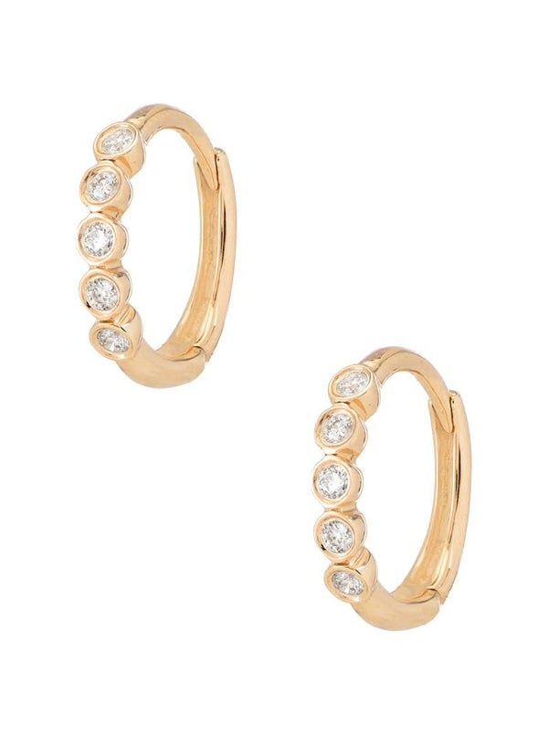 Mini Five Diamond Hoops<br /><i><small>14K Yellow Gold with White Diamonds</small></i><br /> - Eddera