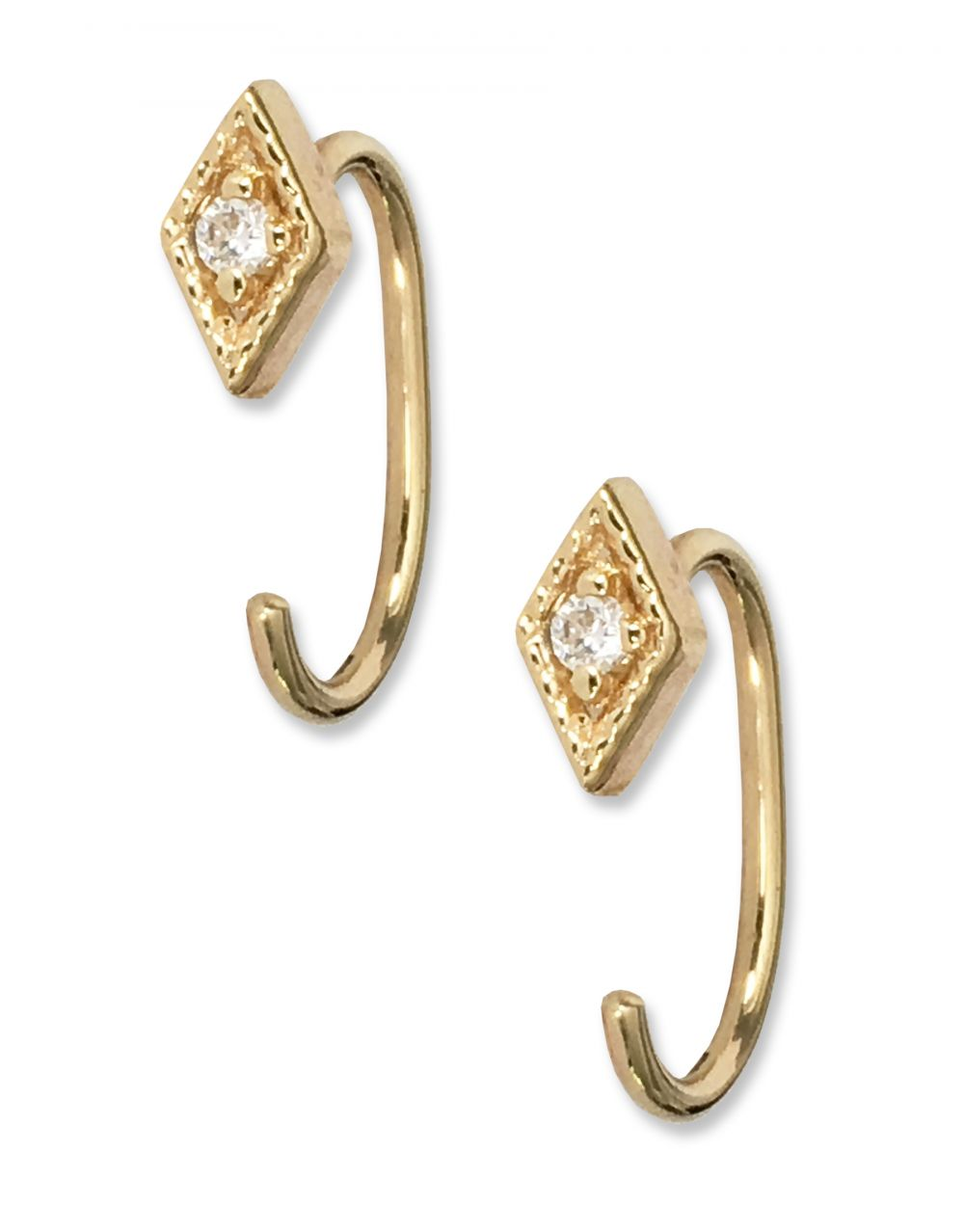 GONDAL OPEN HOOPS | 14K Yellow Gold with White Diamonds - Eddera