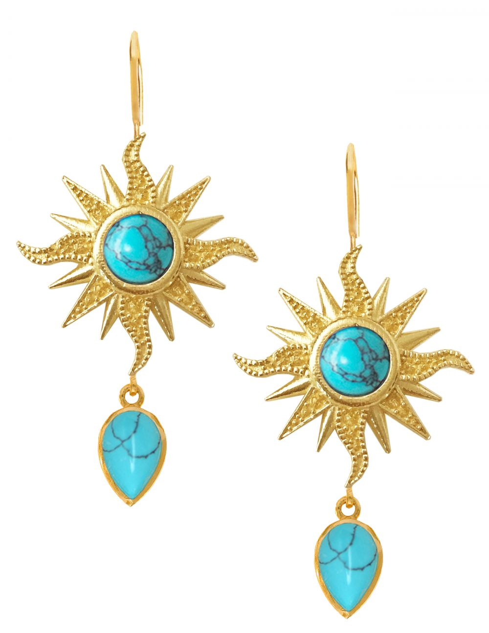 Helios Earrings<br /><i><small>18K Gold Plated with Turquoise</small></i><br />