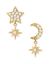 Load image into Gallery viewer, Celestial Studs<br /><i><small>18K Gold Plated with White Topaz</small></i><br />