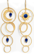Load image into Gallery viewer, Dawn Earrings<br /><i><small>18K Gold Plated with Lapis Lazuli</small></i><br />