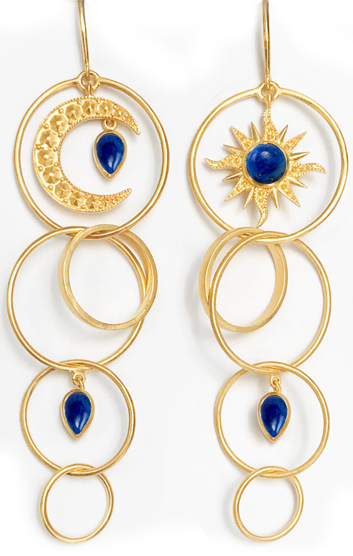Dawn Earrings<br /><i><small>18K Gold Plated with Lapis Lazuli</small></i><br />