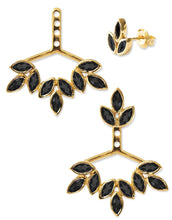 Load image into Gallery viewer, Romy Ear Jackets<br /><i><small>18K Gold Plated with Black Onyx</small></i><br />