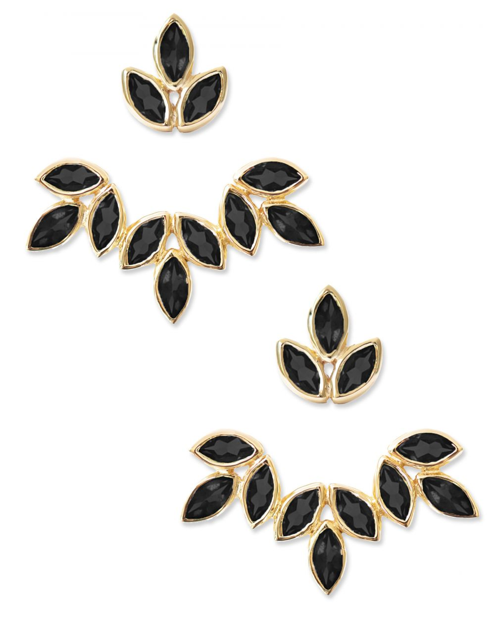 Romy Ear Jackets<br /><i><small>18K Gold Plated with Black Onyx</small></i><br />