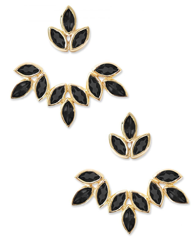 Romy Ear Jackets<br /><i><small>18K Gold Plated with Black Onyx</small></i><br /> - Eddera