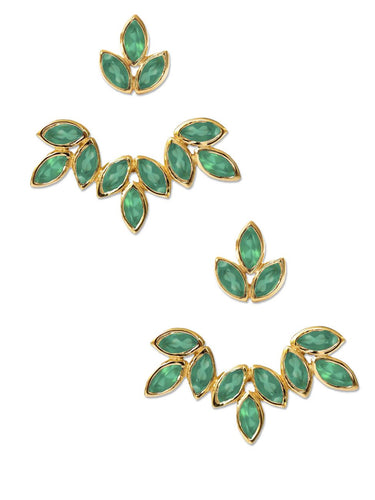 Romy Ear Jackets<br /><i><small>18K Gold Plated with Green Onyx</small></i><br />