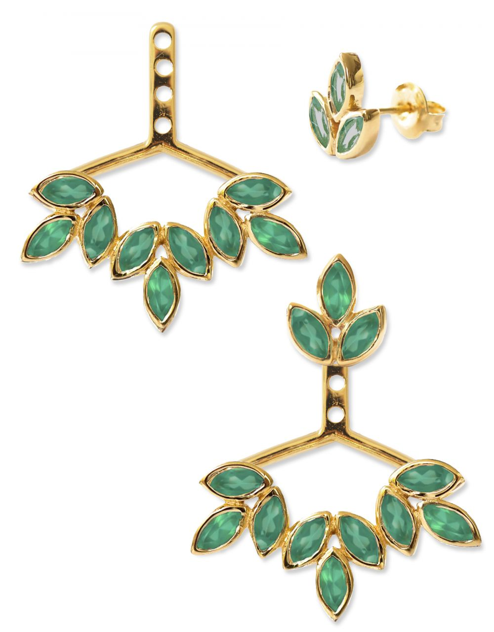 Romy Ear Jackets<br /><i><small>18K Gold Plated with Green Onyx</small></i><br /> - Eddera