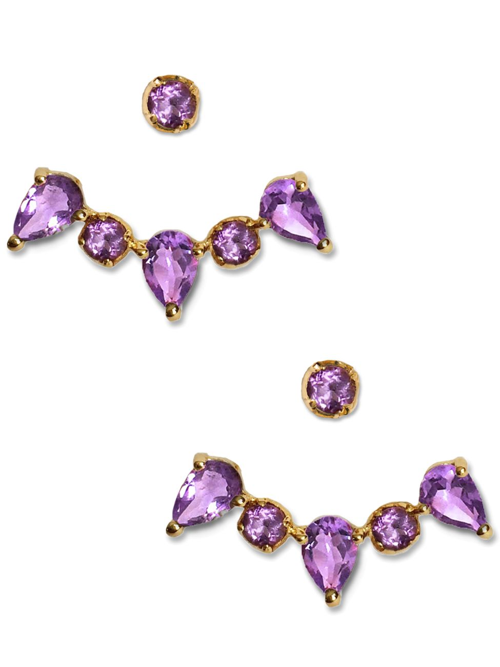 Clara Ear Jackets<br /><i><small>18K Gold Plated with Amethyst</small></i><br />