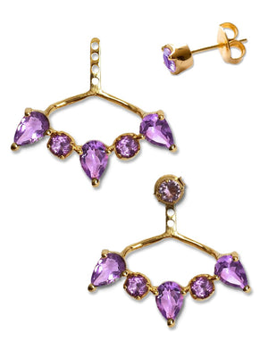 CLARA EAR JACKETS | 18K Gold Plated with Amethyst - Eddera