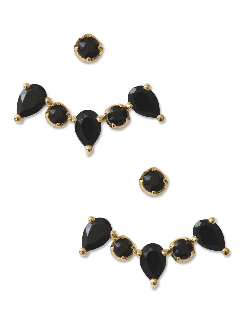 Clara Ear Jackets<br /><i><small>18K Gold Plated with Black Onyx</small></i><br />