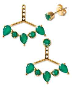 Clara Ear Jackets<br /><i><small>18K Gold Plated with Green Onyx</small></i><br />