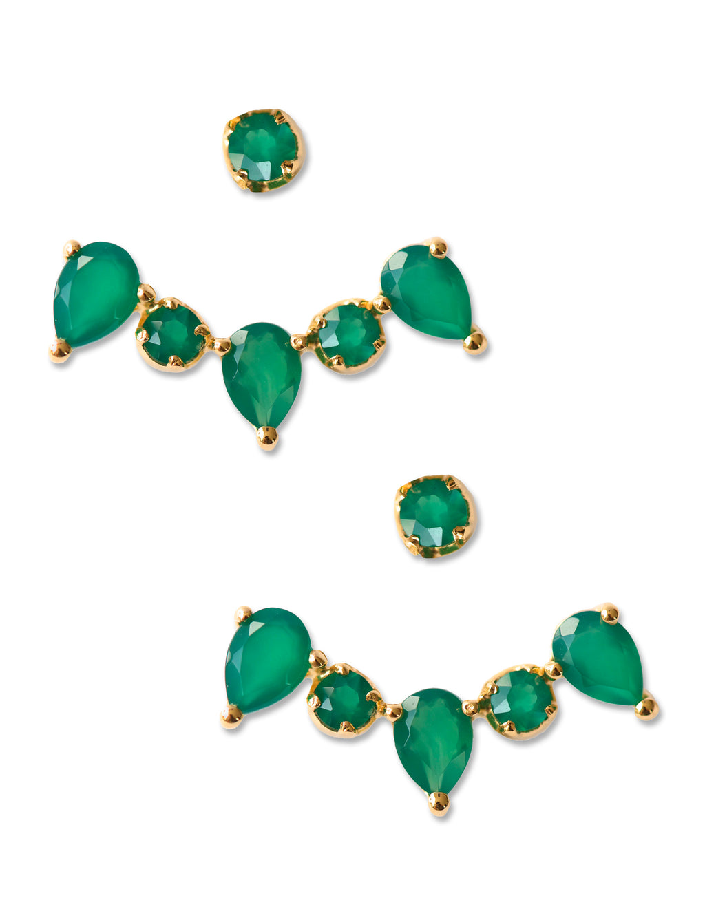CLARA EAR JACKETS | 18K Gold Plated with Green Onyx - Eddera