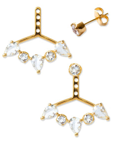 Clara Ear Jackets<br /><i><small>18K Gold Plated with White Topaz</small></i><br />