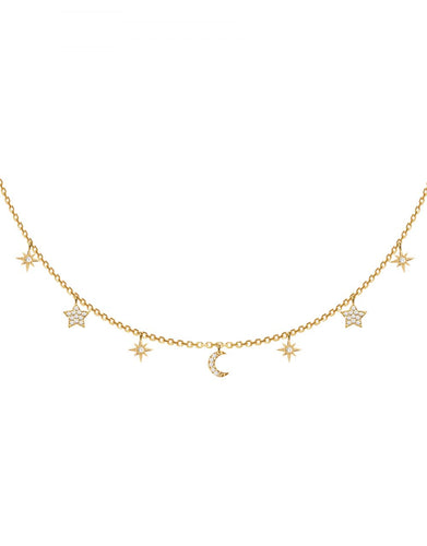 La Nuit Necklace<br /><i><small>18K Gold Plated with White Topaz</small></i><br />
