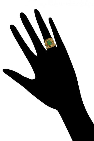 Margot Ring<br /><i><small>18K Gold Plated with Green Onyx & Yellow Topaz</small></i><br />