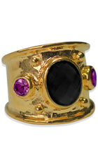 Load image into Gallery viewer, Margot Ring<br /><i><small>18K Gold Plated with Black Onyx & Amethyst</small></i><br />