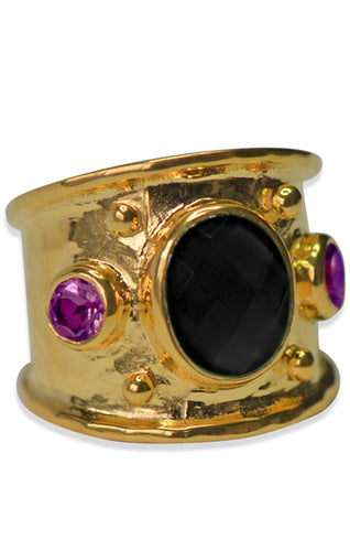 Margot Ring<br /><i><small>18K Gold Plated with Black Onyx & Amethyst</small></i><br />