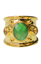Load image into Gallery viewer, Margot Ring<br /><i><small>18K Gold Plated with Green Onyx & Yellow Topaz</small></i><br />