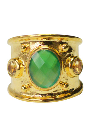 MARGOT RING | 18K Gold Plated with Green Onyx & Yellow Topaz - Eddera