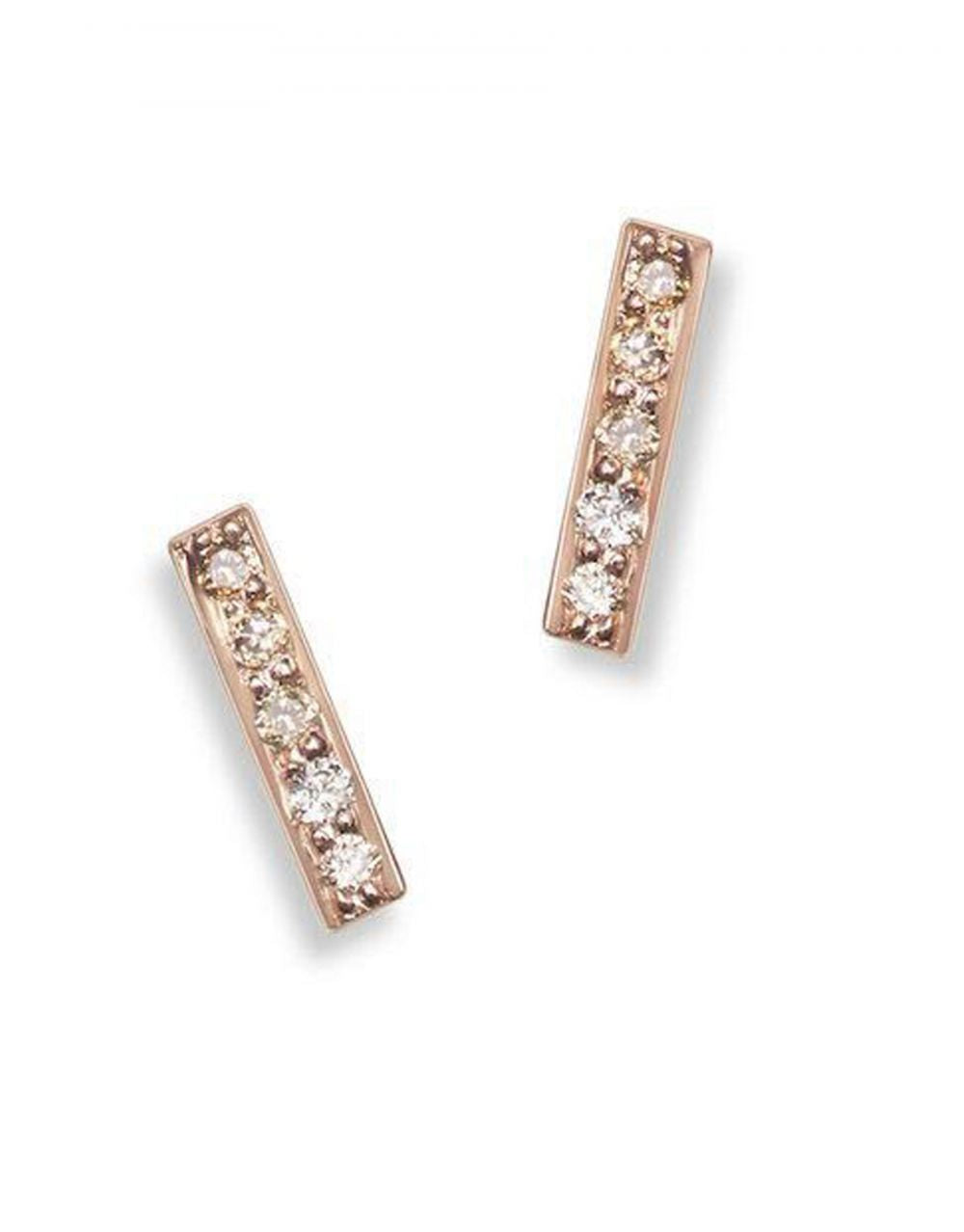 Mini Pavé Bar Stud<br /><i><small>14K Rose Gold with White Diamonds</small></i><br /> - Eddera