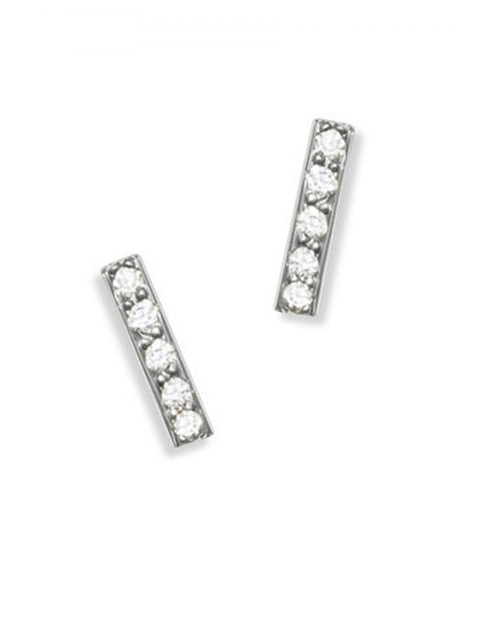 Mini Pavé Bar Stud<br /><i><small>14K White Gold with White Diamonds</small></i><br /> - Eddera