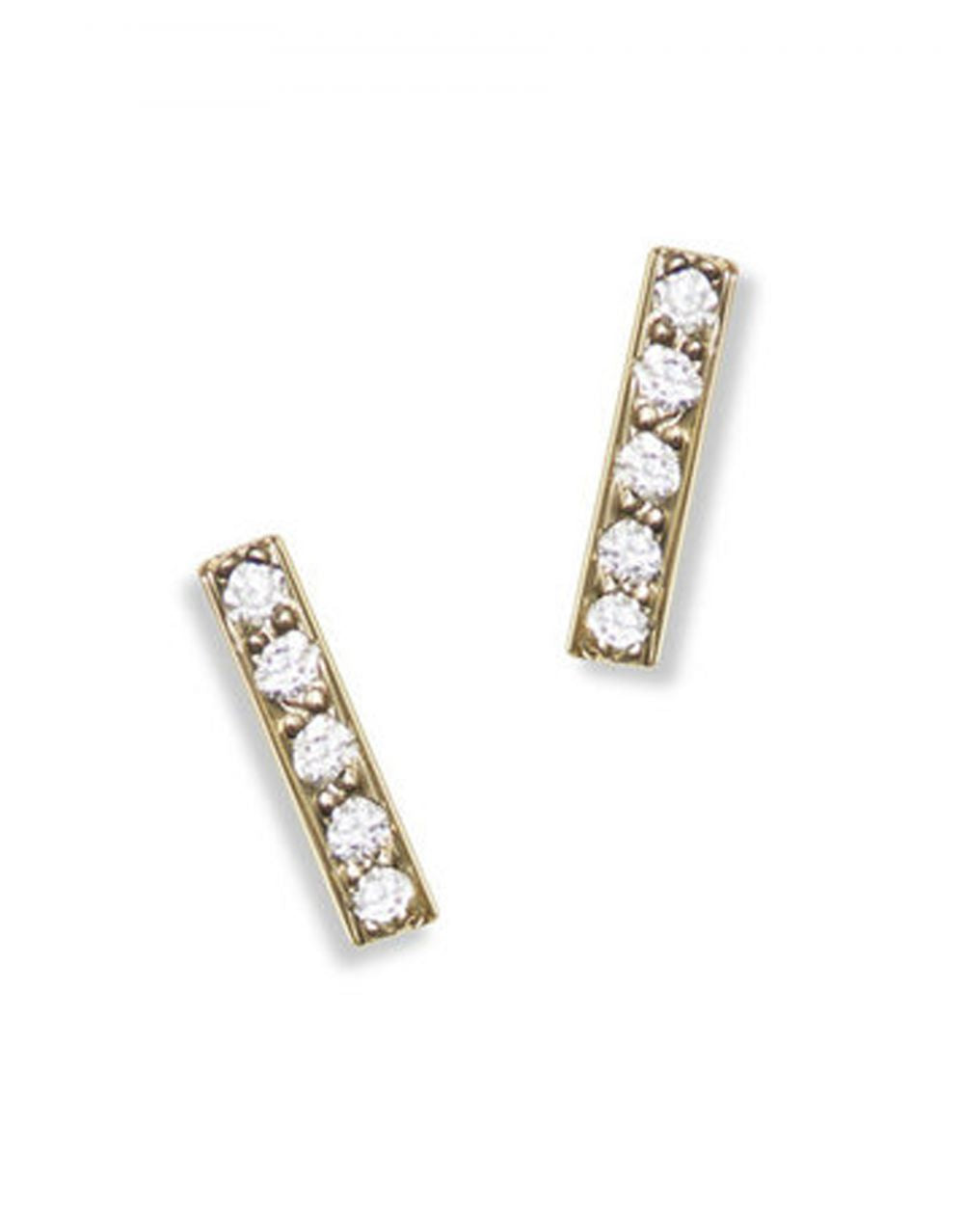 Mini Pavé Bar Stud<br /><i><small>14K Yellow Gold with White Diamonds</small></i><br /> - Eddera