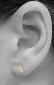 Pavé Bar Stud<br /><i><small>14K Yellow Gold with White Diamonds</small></i><br />