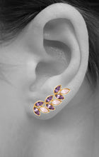 Load image into Gallery viewer, Mini Sienna Ear Crawlers<br /><i><small>18K Gold Plated with Amethyst & Rose Quartz</small></i><br />
