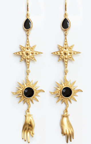 Orion Earrings<br /><i><small>18K Gold Plated with Black Onyx</small></i><br />