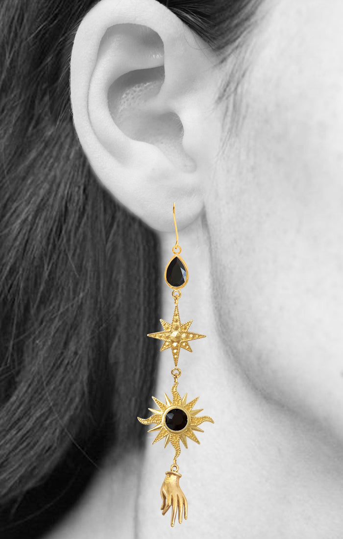 Orion Earrings<br /><i><small>18K Gold Plated with Black Onyx</small></i><br /> - Eddera